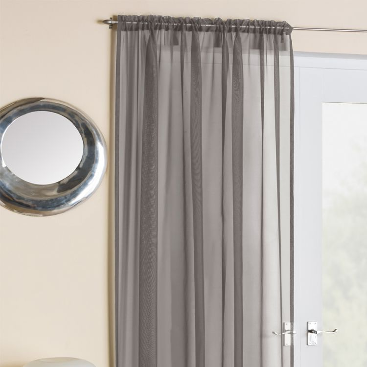 Silver Grey Voile Net Curtain Panel